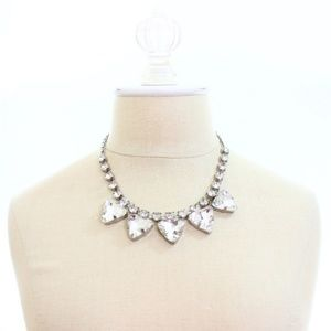 NWOT Silver Short Pyramid Crystal Fashion Necklace